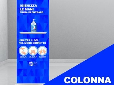 Colonna di supporto con mensola per dispenser con gel igienizzante