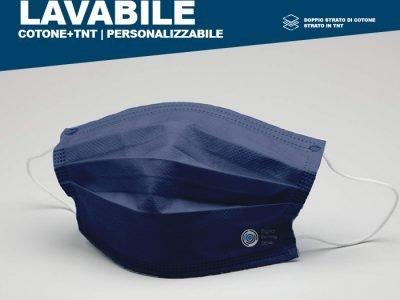 Mascherina lavabile in doppio strato cotone + tnt, personalizzabile nei colori, misura adulto bambino, e logo