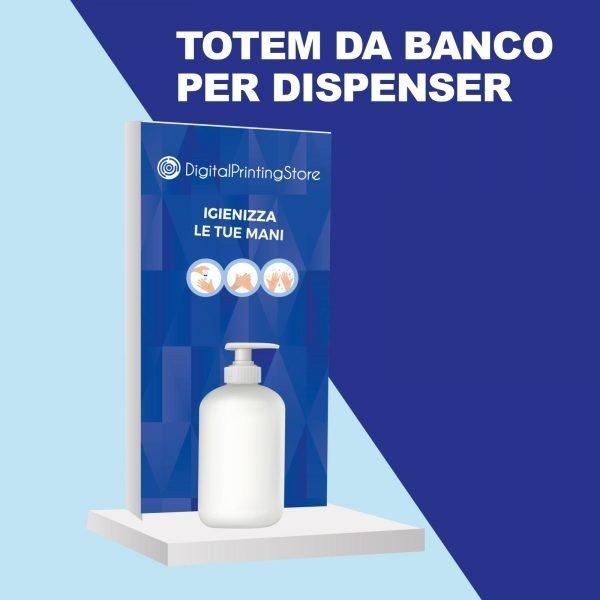 Totem da banco per dispenser con gel igienizzante. Soluzione salva spazio